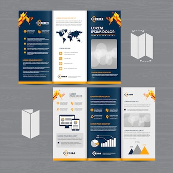 Brochure business tri fold leaflet flyer vector design
