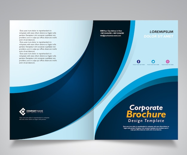 Brochure or corporate template design with wave blue design
