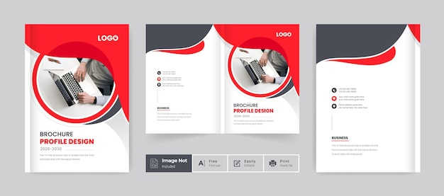 Brochure cover template layout design red color company profile template cover of book cover design
