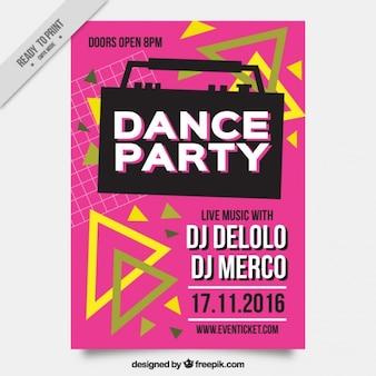 Brochure of dance party in eighties style