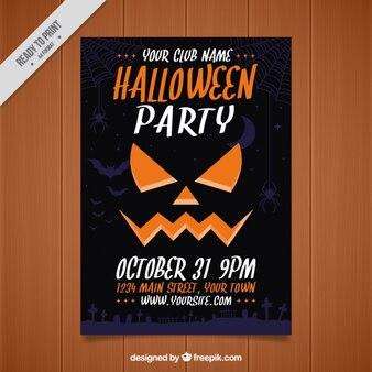Брошюра темный вечеринка хэллоуин с тыквой лицо