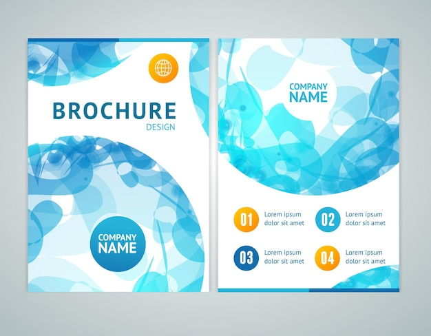 Brochure design in a4 size with abstract blue sphere. vector illustration