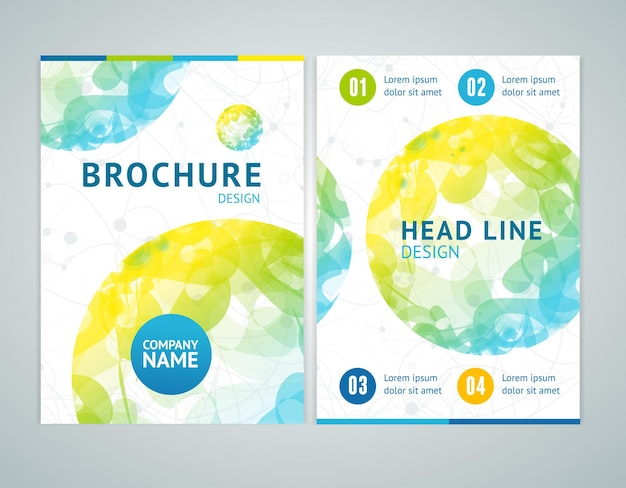 Brochure design in a4 size with abstract color sphere. vector illustration