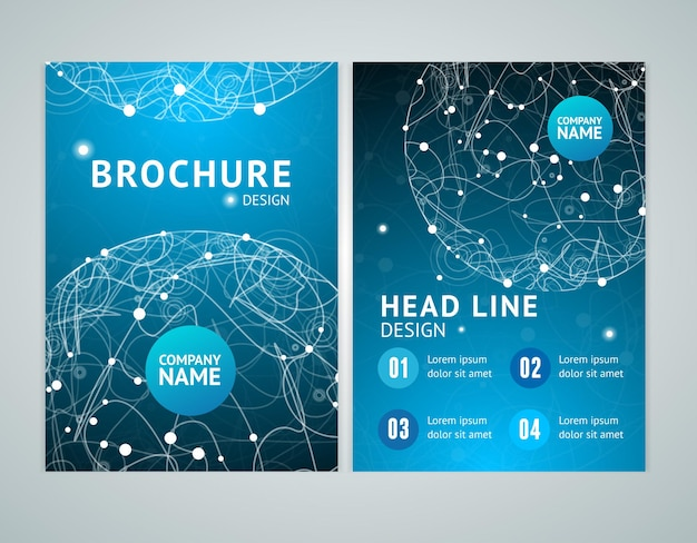 Brochure design in a4 size with abstract sphere space. vector illustration