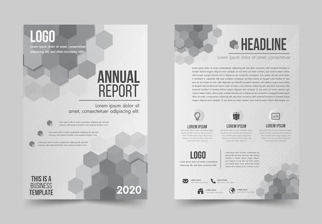 브로셔 디자인 전단지 템플릿 흰색과 회색 기하학적 모양 디자인 레이아웃, 연례 보고서, 잡지, 포스터, 기업 보고서, 배너, 웹사이트.