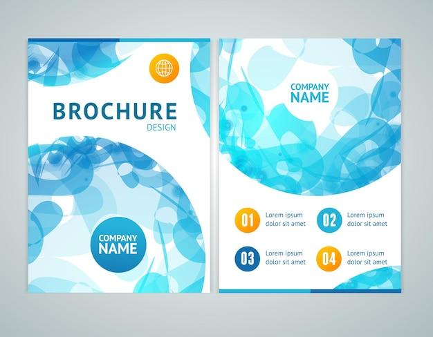 抽象的な青い球とa4サイズのパンフレットのデザイン。ベクトルイラスト