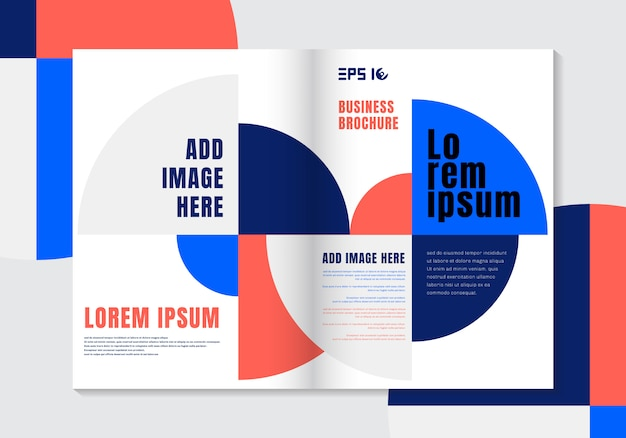 Brochure design template geometric vivid color background.