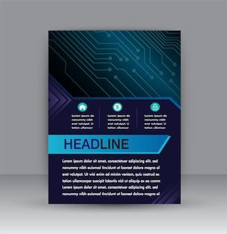 Brochure design template vector. abstract cover book blue portfolio minimal presentation p