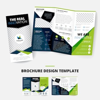 Brochure design template with geometric shapes information about company place for logo business inf