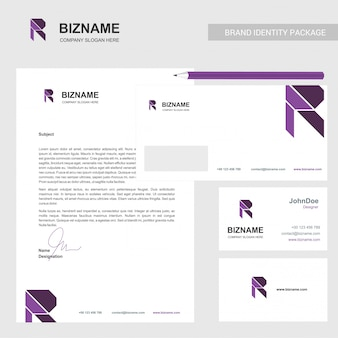 Brochure design with company card and stationary with r logo