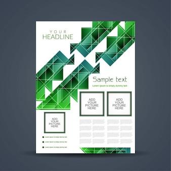 緑のポリゴンとパンフレットのデザイン