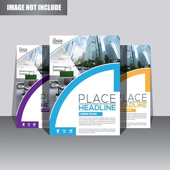 Brochure or flyer  template design for annual report cover