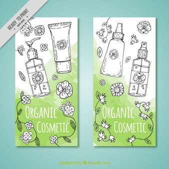 Brochure of hand drawn ecological cosmetics