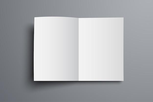 브로셔는 열린 첫 페이지의 평면도입니다. 범용 카탈로그 a4 또는 a5의 공백.