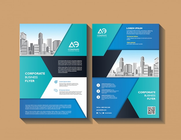 Brochure layout or flyer template poster magazine annual report book