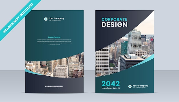 Brochure layout template, cover design with green and grey gradient color theme