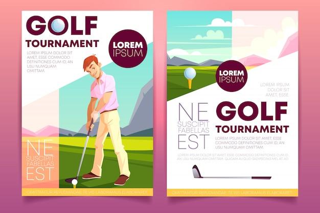ゴルフトーナメントのパンフレット。緑の芝生で遊ぶ男と小冊子。
