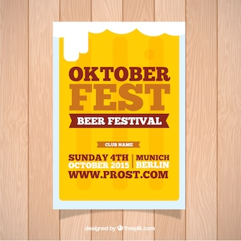 Brochure for oktoberfest with beer background