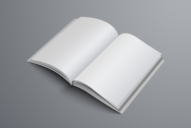 Brochure open on the middle of the page. realistic template a4 or a5 catalog