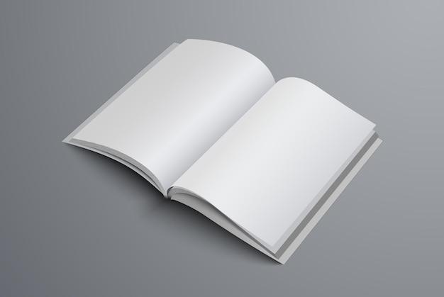 페이지 중간에 브로셔가 열립니다. 현실적인 템플릿 a4 또는 a5 카탈로그