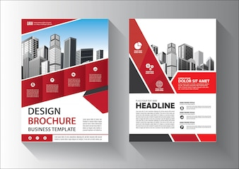 Brochure or flyer  template design with red and black color