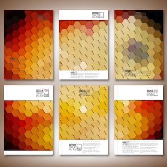抽象的な六角形のデザインのパンフレットまたはチラシテンプレート
