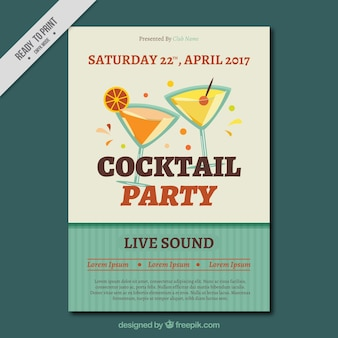 Brochure of party with cocktails in retro design