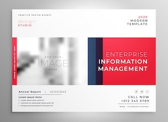 Brochure presentation design template in red color