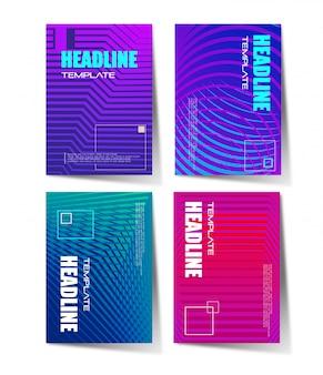 Brochure set with geometric halftone gradients
