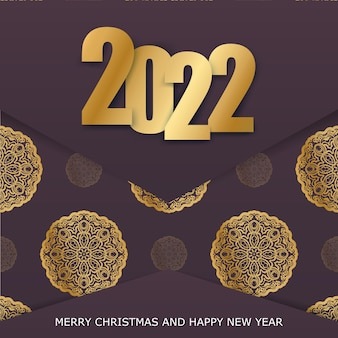 Brochure template 2022 happy new year burgundy color with abstract gold ornament