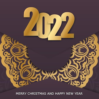 Brochure template 2022 happy new year burgundy color with abstract gold pattern
