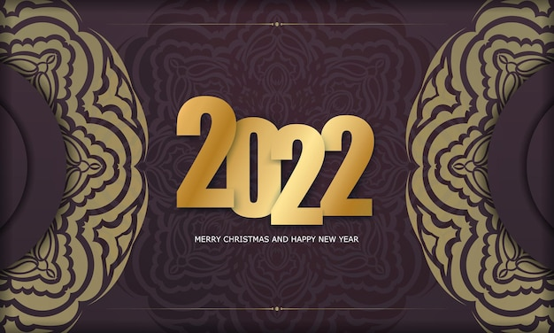 Brochure template 2022 happy new year burgundy color with luxury gold pattern