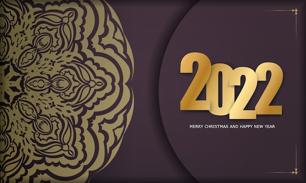 Brochure template 2022 happy new year burgundy color with vintage gold ornament