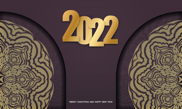 Brochure template 2022 happy new year burgundy color with vintage gold pattern