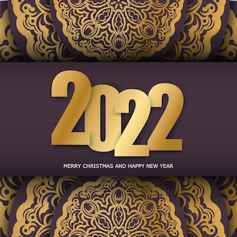 Brochure template 2022 happy new year burgundy color with winter gold ornament