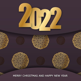 Brochure template 2022 happy new year burgundy color with winter gold pattern