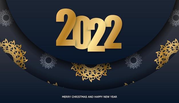 브로셔 템플릿 2022 메리 크리스마스와 새 해 복 많이 받으세요 블랙 색상 럭셔리 황금 패턴