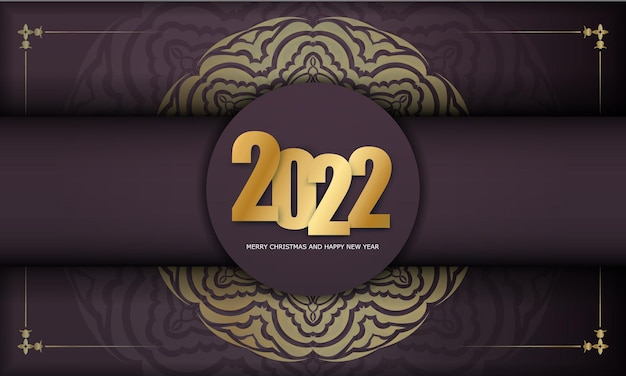 Brochure template 2022 merry christmas burgundy color with abstract gold ornament