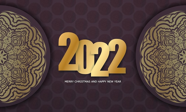 Brochure template 2022 merry christmas burgundy color with luxury gold ornaments
