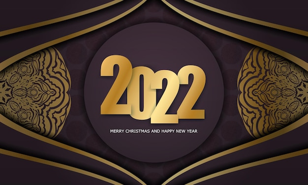 Brochure template 2022 merry christmas burgundy color with luxury gold pattern