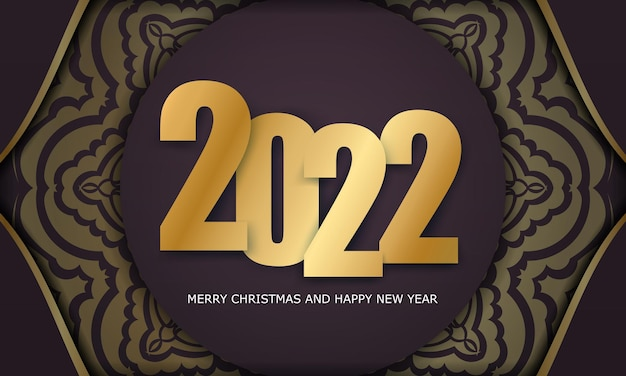 Brochure template 2022 merry christmas burgundy color with vintage gold ornament