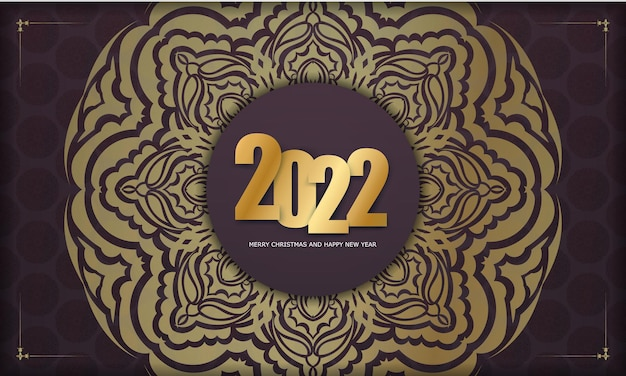 Brochure template 2022 merry christmas burgundy color with vintage gold pattern