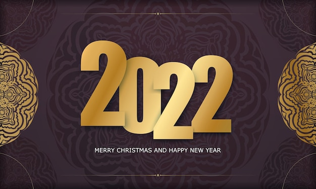 Brochure template 2022 merry christmas burgundy color with winter gold ornament