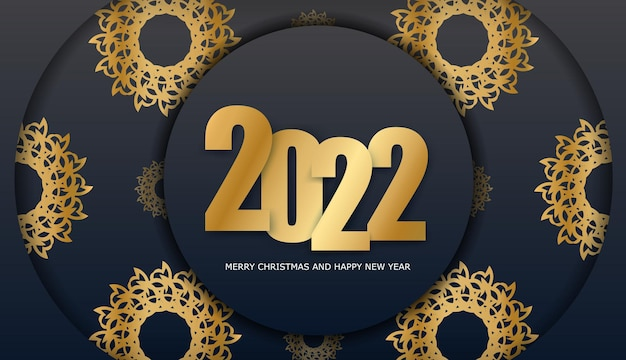 Brochure template 2022 merry christmas and happy new year black color with vintage gold pattern