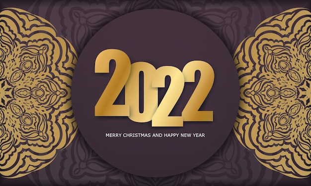 Brochure template 2022 merry christmas and happy new year burgundy color with abstract golden pattern