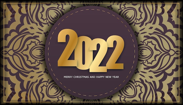 Brochure template 2022 merry christmas and happy new year burgundy color with luxury gold ornament