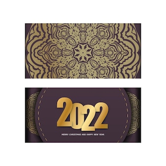 Brochure template 2022 merry christmas and happy new year burgundy color with luxury golden pattern