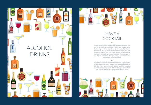 Brochure template for bar or liquor store with alcoholic drinks in glasses and bottles