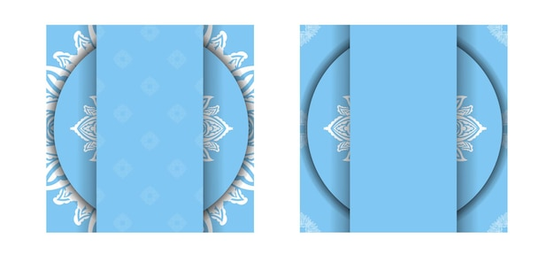 Brochure template in blue color with abstract white ornament ready for printing.