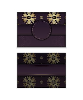 Brochure template burgundy with abstract gold pattern prepared for typography.